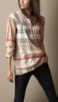High Quality Classical 2014 Women Top Brand Designer Long Sleeve Big Plaid Casual shirts/OL Fit Plaid Tops/Blouse #8526 M-XXL