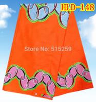 Bright orange veritable Holland wax African printed wax fabric on sale HLD-148