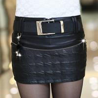 Korea Style New Arriva 2015spring autumn plus size women's short skirt PU leather skirt S-XL mini skirts With Belt Free shipping