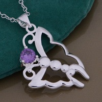 Christmas Gift 925 Silver Crystal Butterfly Necklaces & Pendants,Fashion 925 Sterling Silver Necklace,Free Shipping,GYAN865