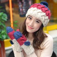 NEW Winter female hat knitted hat knitted women's fashion ear plus velvet warm hat girls