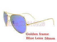 1pcs High quality Men Women Brand designer Sunglasses Golden frame 58mm Blue Lens Outdoor beach shade glasses With Box And Case