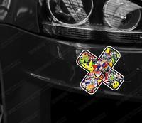 Car Sticker JDM Graffiti bandage Cross scratches stickers japan rise sun reflective stickers