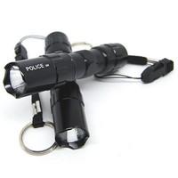 Black Metal 3W 1AA Mini LED Key Chain Outdoor Flashlight Torch Free Shipping