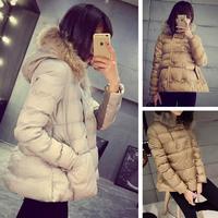 Winter new women / female fashion trend plush padded winter coat and tie cap