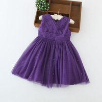 purple color 2015 new fashion little princess girl sexy sleeveless peals lace dress kids party dress