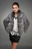 z58 New arrive European American fashion women genuine real sliver fox fur coat jacket luxury overcoat striped jackets clothing