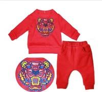 vestidos baby boys clothing set Fashion 2014 winter children's clothes thickening fleece 100% tiger embroidery cotton