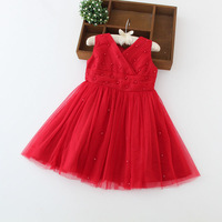 red color flower girl dresses lace tutu party dress ball gown 2-8 years