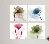 4 Pictures Mocern Abstract Oil Painting On Canvas 4 Colors Abstract Flower painting oil canvas