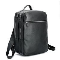 New Fashion Preppy Style Black Color Genuine Leather Brand Backpacks Large Travel Backpack For Men Laptop Computer Backpacks