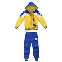 Patchwork & Striped Fashion Boys Hoodies + Pants Clothing Set Size 90-130 cm Children Sports Wear Drop Shipping