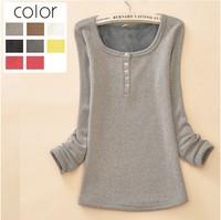 2014 hot selling Slim long sleeve thermal liner wild hair bottoming shirt plus thick velvet warm clothing T-shirt   120807
