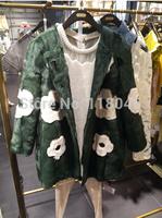 z74 Genuine real lamb fur coat jacket for elegant women European design flower overcoat ladies outwear coats slim parka