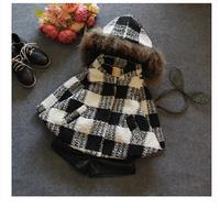 children's clothing wholesale 2014 Girls Winter black and white green hat woolen thickening coat