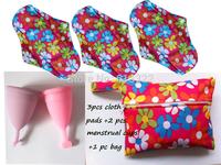 Free Shipping 100% Medical Grade Silicone Menstrual Cup,3 pcs Cloth Menstrual Pads +2 pcs Menstrual Cup+1 Storage bag,