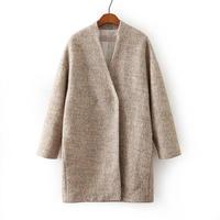 European Brand Designer Women Woolen Long Coats Long Sleeve V Neck Lady Boutique Slim Coats NAS8577