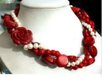 """White Akoya Cultured Pearl & Red Coral With Flower Clasp Necklace 18""""long necklace fine jewelry"""