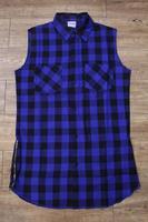 Hip hop tyga mens Blue Tartan plaid Sleeveless Casual shirts Side Zipper Pyrex  man casual Lattice Shirt