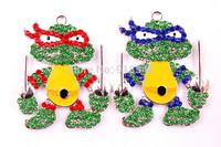 Mixed style 50*42MM 10pcs/lot Silver zinc alloy mutant ninja turtles Rhinestone Pendant for kid's Necklace,Cutie Chunky Pendant