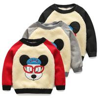 2014 winter cartoon boys clothing girls clothing child plus velvet thickening sweatshirt outerwear wt-4423