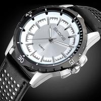 Men Fashion Sports Watch Skone Relogio Masculino Military Quartz Watch Leather Strap Men Wristwatch Relogio Rolojes 9221