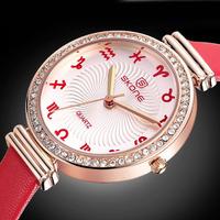 New Fashion Lady Exquisite Wristwatch Skone Luxury Brand Rhinestone Crystal Watches Zodiac Watch Relogio Rolojes 9169