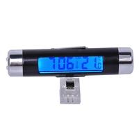 Car LCD Digital Temperature Thermometer luminous Car electronic clock Meter Monitor Time Clock 2 in 1 Black Free Shipping