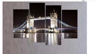 Free shopping 4 Panels Home Decor Wall Art Painting of London Bridge landscape Artwork Custom Sale--Modern City Painting LA4005