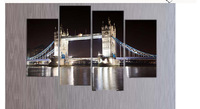 Free shopping 4 Panels Home Decor Wall Art Painting of London Bridge landscape Artwork Custom Sale--Modern City Painting LA4005