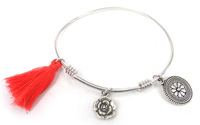 Free shipping new DIY alloy adjustable flat spring cuff bangle with tassel,rose flower charm fashion metal bangle
