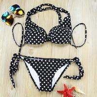 BK173 Sexy Bikini Set Beachwear Women Vintage Black Polka Dot Print Swimwear Hot Sale Push-up Swimsuit Casual Bathing Suit
