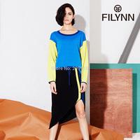 2015  New Arrival Spring Summer   Dresses Sets Women patchwork color block one-piece dress long-sleeve twinset dress
