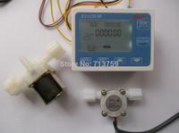 "Free shipping G1/4"" Water Flow Counter Controller LCD Display+Flow Sensor Meter+Solenoid Valve"