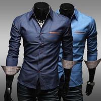 2014 New Mens Fsahion shirt Denim Lattice design Slim Shirts,shirts for men dark blue light blue M-XXL