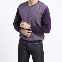 Hot Sale 2015 New Mens Clothing Winter/Autumn Fashion Plaids V-neck Cotton Casual Purple Sweaters Pullovers S X XL XXL Thin Full