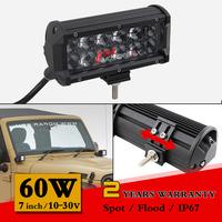 7 inch 60W LED Work Light Bar 12V 24V IP67 Fog Lights For Off Road 4WD Truck Adjustable Bracket  Led Worklight Save on 72W 90W