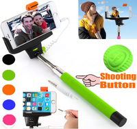 KJSTAR Mobile Phone Wired Monopod Audio Cable Wired Selfie Stick Extendable Handheld Monopod for iPhone6 IOS Samsung Android