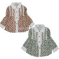 [April's] fashion girls clothing, kids blouse cotton blouse  children long sleeve printed floweer lace blouse A13120