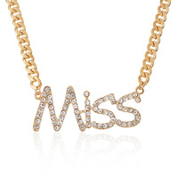 "T373 Retro/Vintage Exaggeration ""MISS"" Letter Necklace Sweater Chain"
