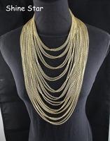 Fashion Statement Collar Gold Plated Multirow Fine Curb Aluminum Chain Long Tassel Body Choker Necklace Women Jewelry Item,C91