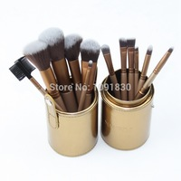 Alvin`sWhole Sell Price New Glod Professional Makeup Brushes Set 12 pcs Kit w/ Leather Cup Holder Case kit