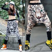 Fashion hip-hop harem pants tiger print casual female hanging crotch pants loose harem pants  Azusa