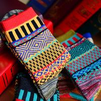 knitted jacquard pattern fashion vintage men socks cotton
