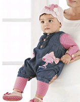 christmas autumn hello kitty baby clothing bebe baby girls brand kid  jumpsuit denim full suit  kitty three pieces sets