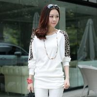 HOT SALE S-L Plus Size Basic T Shirt Womens Casual Clothing 2014 Autumn Fashion Leopard Batwing Long Sleeve Cotton Blouse Tops