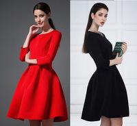 Women's Dress 2015 Elegant Big Ball Gown Pleated Women Dress Plus Size Three Quarter Sleeve Red Black Short Mini Dresses 1412017