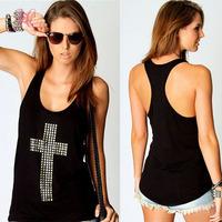 2014 Summer Women Tops O Neck Casual T shirt Black Rhinestones Cross Racer Back Vest T-shirt Dropshipping Freeshipping