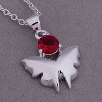 Christmas Gift 925 Silver Crystal Butterfly Necklaces & Pendants,Fashion 925 Sterling Silver Necklace,Free Shipping,GYAN898
