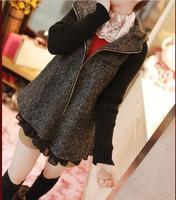 Autumn Winter Plus Size Fashion Fat Women Faux Two Pieces Chiffon Wool Coat Dark Gray High quality M-4XL